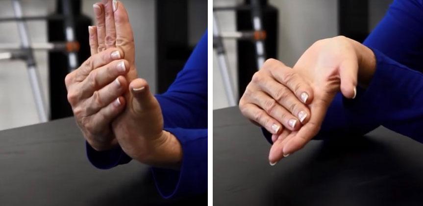 تمرین خم کردن کف دست به بالا و پایین