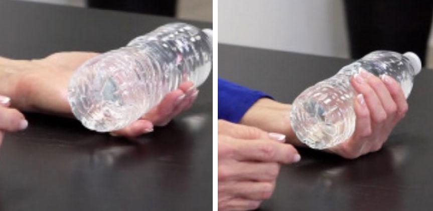 تمرین غلت دادن بطری اب